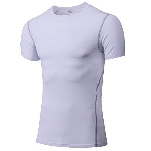 Cici and Liya Deportes Manga Corta de los Hombres de compresión Baselayer Camisetas (Color : White, Size : XXL)