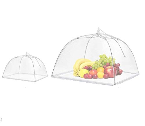 Ducomi Lunch-Abdeckung aus Netz, faltbar, 2 Stück, Zelt gegen Fliegen, Insekten und Moskito, Regenschirm für Lebensmittel in Garten, Grill, PIC-Nic und Asche mit Freunden (60 x 36 cm)