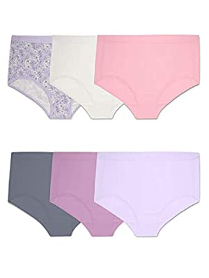 Fruit of the Loom Plus Size Fit for Me Women's Microfiber Briefs, 6 Pack, Assorted, 9