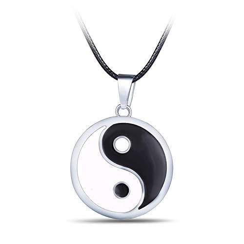 Cuir D'or Collar Unisex Hombres Acero Inoxidable Símbolo Chino Taiji Yin Yang Colgante con Cadena de Regalo, Colgante Yin Yang para Dos Regalo en Pareja San Valentín
