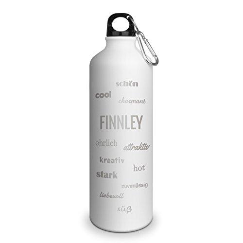 Trinkflasche mit Namen Finnley - graviert mit Positive Eigenschaften, Aluminiumflasche mit Gravur, Sportflasche - matt weiß
