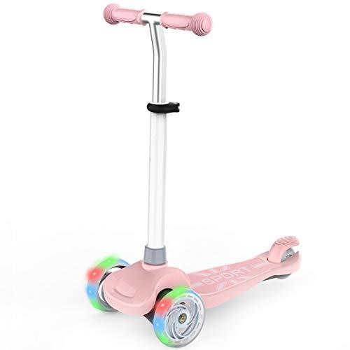 IMMEK Patinete Scooter de Tres Grandes Ruedas para Niña y Niño 2 a 6 Años Juguetes y Regalos, Ajustable Altura 3 Luz LED Luces Iluminadas Ruedas Carga Máxima 50 KG (Rosa)