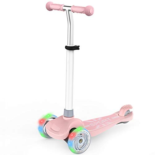 IMMEK Patinete Scooter de Tres Grandes Ruedas para Niño y Niña 2 a 6 Años Juguetes y Regalos, Ajustable Altura 3 Luz LED Luces Iluminadas Rueda Carga Máxima 50 KG (Rosa)