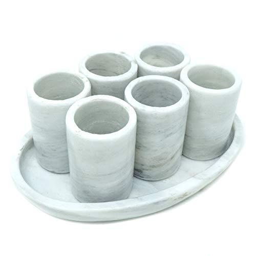 LUHOM LUJOSO HOGAR MEXICO Marmor Shotgläser in Bego Weiß 2 cl im 6er Set mit Tablett für Spirituosen & Liköre I Schnaps-Glas I Shot-Glass I hochwertige Qualität aus Naturmarmor