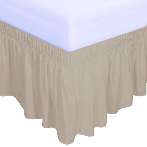 PureFit Wrap Around Ruffled Bed Skirt with Adjustable Elastic Belt - 14 Inch Drop Easy to Put On, Wrinkle Free Bedskirt Dust Ruffles, Bed Frame Cover for Twin,Twin XL and Full Size Beds, Sand