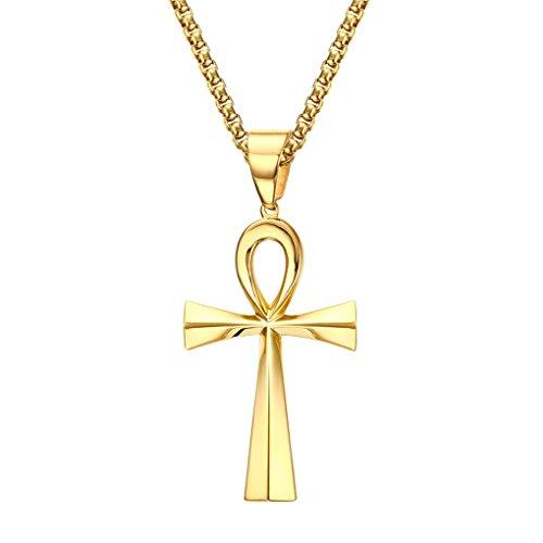 UM Bijoux Pendentif Croix Collier Ankh Egyptien Acier Inoxydable per Homme et Femme Couleur Or