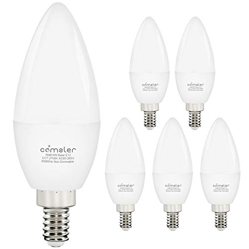 Comzler LED Light Bulbs Candelabra Base 60W Equivalent, E12 Small Base Warm White 2700K B11 Candle Light, Type B Candelabra Bulb Replacement, Pack of 6, Non-Dimmable
