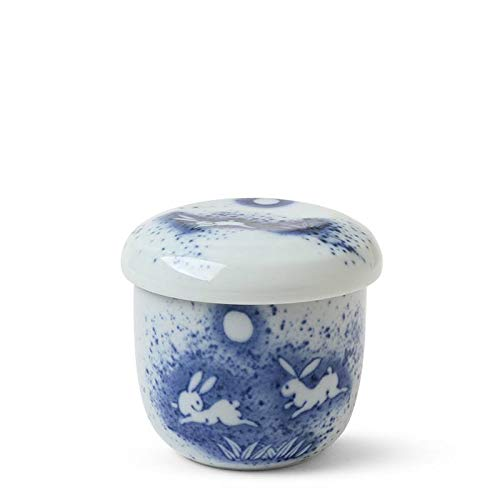 apanese 3.25'D Porcelain Chawanmushi Custard Bowl Cup Moon Rabbit Made in Japan