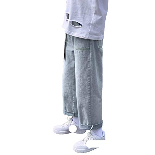 Pantalones Vaqueros para Hombres Moda Juvenil Pantalones Vaqueros Sueltos Rectos de Pierna Ancha Pantalones Vaqueros Casuales versátiles y cómodos S