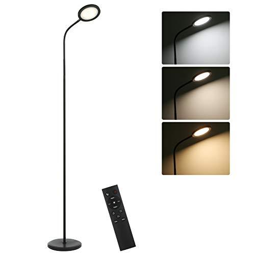 Tomshine Lámpara de Pie 15W Control Remoto y Control Táctil Admite Ajuste de Temperatura de Color lineal,para Salón,Dormitorio,Oficina