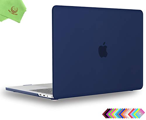 UESWILL MacBook Pro 15 inch Case 2019 2018 2017 2016, Smooth Matte Hard Case for MacBook Pro 15 inch with Touch Bar/USB-C (Model: A1990/ A1707) + Microfibre Cleaning Cloth, Navy Blue