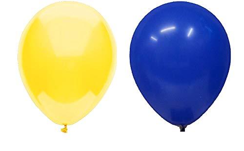 INERRA Globos - Paquete de 50 Mezclado (25 X Azul Turquí& 25 X Amarillo) Látex 10