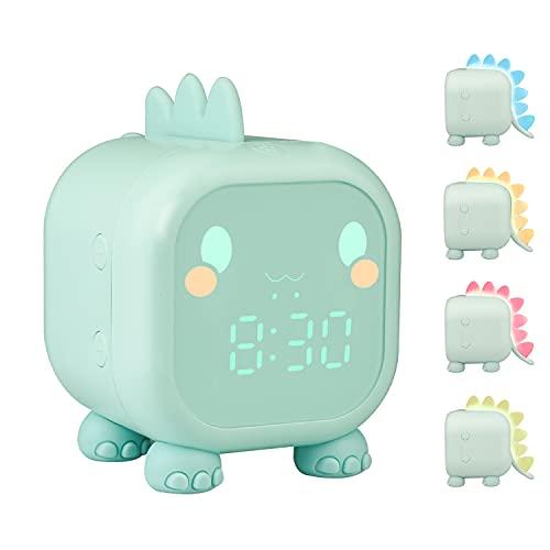 ZKIAH Despertador Infantil De Dinosaurio, Despertador Digital para NiñOs para NiñAs Y JóVenes, Reloj Digital con Luz, Luz Nocturna, Despertador Led (Verde)