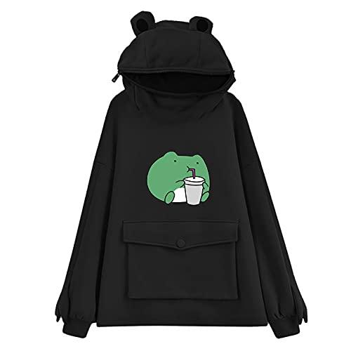 Frog Zip Up Hoodie Animal Cosplay Hoodie Zipper Mouth Sweatshirt Women Novelty Pullover Plus Size Costume Black
