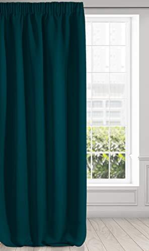 Eurofirany Logan Verdunkelung Vorhang Blickdicht Satin Kräuselband Gardine Einfarbig 1 Stk. Modern Wohnzimmer Schlafzimmer Kinderzimmer, Petrol, 135x270 cm