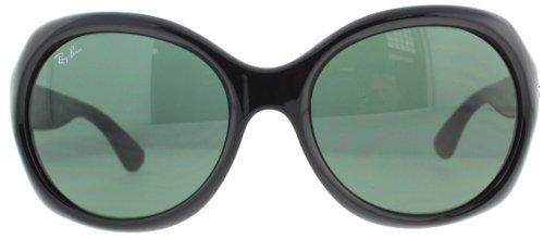 Ray-Ban Women's RB4191 Round Oversized Sunglasses, Black/Green, 57 mm