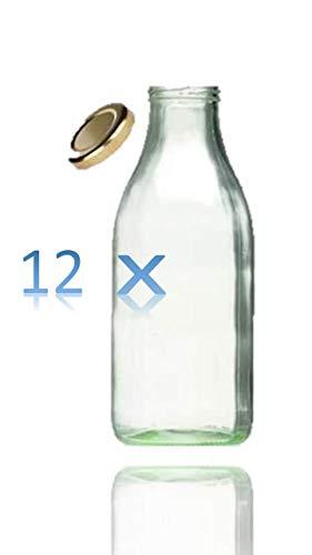 12 x Weithals-Glasflasche 1000 ml mit silberfarbenem Schraubverschluss, als Milchflasche, Saftflasche & Smoothieflasche verwendbar