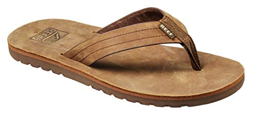 Reef Men's Sandal Voyage Le | Premium Real Leather Flip Flops for Men with Soft Cushion Footbed | Waterproof | Brown/Bronze | Size 12