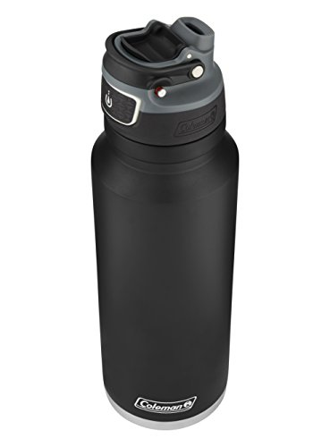 Coleman FreeFlow autoseal Insulated Stainless Steel Water Bottle, Black, 40 Oz.