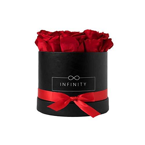 Infinity Flowerbox Medium (Schwarz) - 9 echte Premiumrosen in Vibrant Red