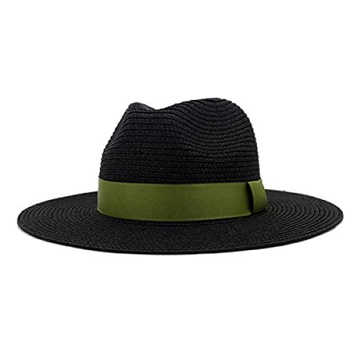YDXC Sombreros de Sol Hombres Mujer Casual Cinta Negra Sombreros de Paja Gorras Playa al Aire Libre Viajes Protector Solar Sombreros Simples clásicos -Army_Green_56-58Cm