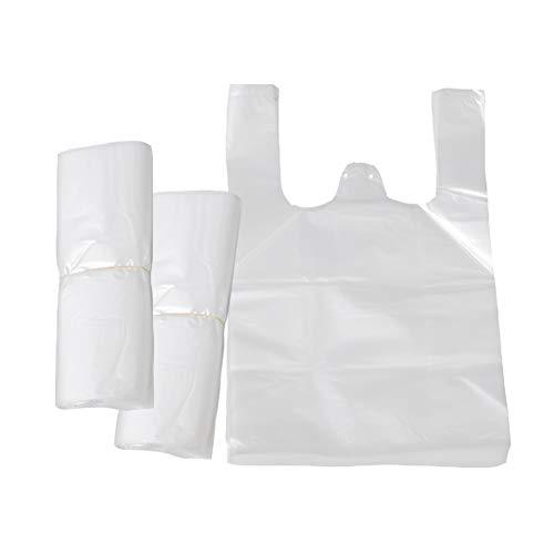 FHYT 300 pz Bolsas de Transporte Transparentes Estilo Chaleco, Resistentes Blancas de Estilo Chaleco Bolsas de Plástico para Satisfacer Múltiples Necesidades Nuevo Material - 42x26x12cm