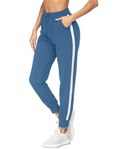 mea eor Damen Lang Jogginghose Baumwolle Hohe Taille Bündchen Streifen Sweathose Sporthose Yogahose Trainingshose Freizeithose mit Taschen Super Weich und Bequem Blau M