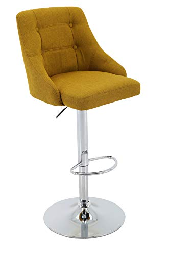 Brage Living Adjustable Height Bar Stool Tufted Fabric Upholstered Round Back Barstool with Footrest, Gold