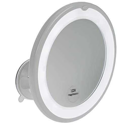 Fantasia Miroir cosmétique Rond à LED grossissant 10 x Ø 17,5 cm avec Ventouse en Acrylique pour la Maison et Les déplacements Ø intérieur 13 cm