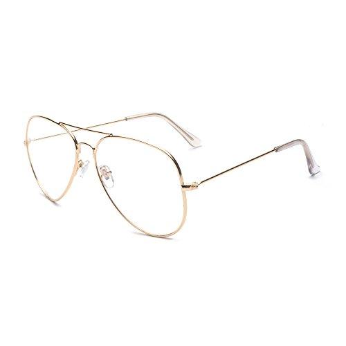 ALWAYSUV Vidrios de la vendimia Vidrios de la manera del aviador Vidrios claros de la lente Marco del metal Marco del oro