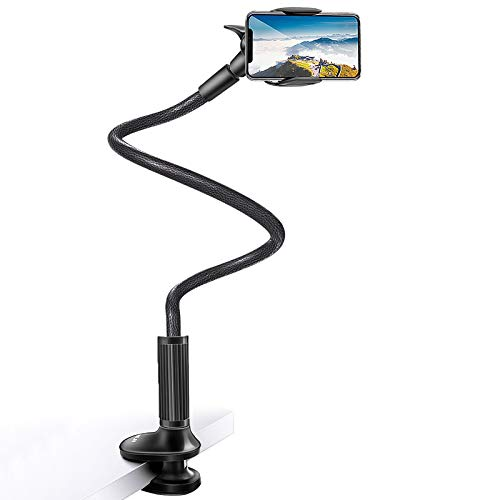 Cell Phone Holder Bed Gooseneck Mount - Bamoer Phone Clamp Clip for Desk, Flexible Long Arm Lazy Bracket, Adjustable Overhead Table Stand, Compatible with iPhone 11 Pro Xs Max XR X 8 7 6 Plus 5 4