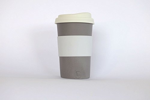 grey handmade to-go/travel cup for home, car or coffee shop use. Silicone lid and cuff, porcelain body. dishwasher proof. 12-14 oz.