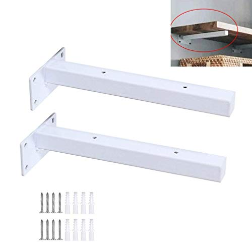 Shelf Bracket,2 Pack Heavy Duty Wall Shelf Angle Braces Brackets,Industrial Metal Floating Blank Plate Shelving Support,for Books Living Room Office,Kitchen,Includes Hardware(white