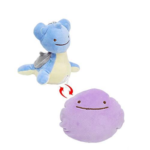HHtoy 15cm Lapras ändern Ditto Plüsch-Spielzeug-Puppe Anime Figuren Doppelseitiges Kissen Pokemon Stuffed weiche Puppen Begleitpuppen Kinder Geburtstag
