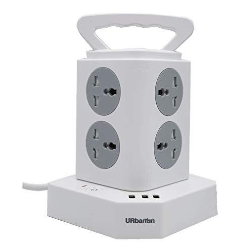 Enchufe de Rama Inteligente, Adaptador de Corriente, Cargador USB, 8 enchufes de Pared, 3 Puertos USB, Enchufe de CA y USB, portátil y fácil de Usar, de bajo Consumo, Blanco