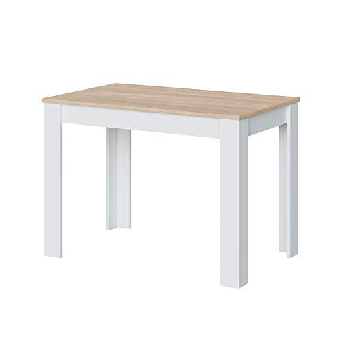 Habitdesign Mesa Auxiliar Fija, Mesa Cocina, Acabado en Color Blanco Artik y Roble Canadian, Modelo Cloe, Medidas: 109 cm (Ancho) x 67 cm (Fondo) x 78 cm (Alto)