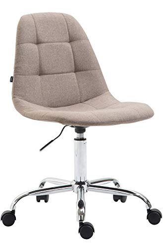 CLP Bürostuhl Reims Mit Stoffbezug I Schreibtischstuhl Mit Gestepptem Sitz I Höhenverstellbarer Arbeitsstuhl Mit Metallgestell, Farbe:Taupe