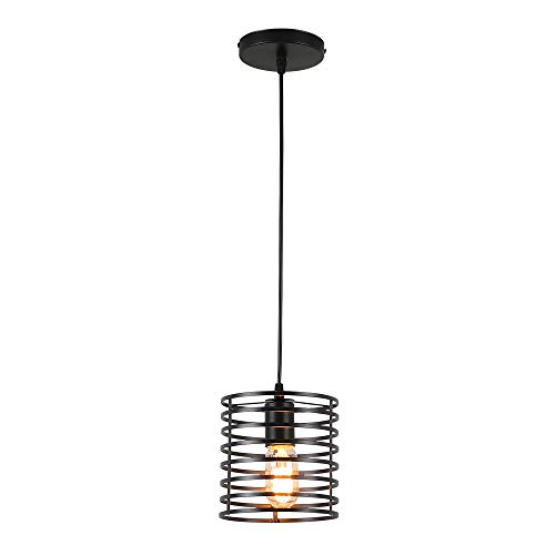 Industrial Pendant Lighting, Black Cage Hanging Light...