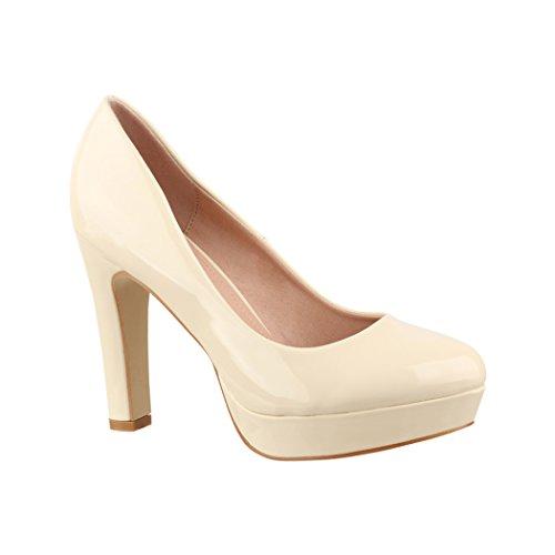 Elara Zapato de Tacón Alto Mujer con Plataforma Chunkyrayan Beige E22322 Beige-39
