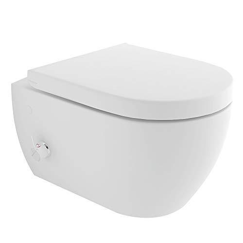Spülrandloses-Dusch WC mit seitlich eingebauter Einhebelarmatur inkl. Kalt-Warm Wasser Anschluss | Quick-Release D-Form WC-Sitz mit Absenkautomatik + Anschluss-Schläuche für die Düse