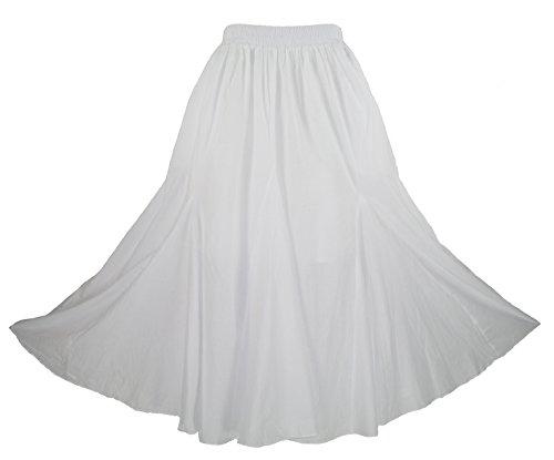Beautybatik White Women Cotton Boho Gypsy Long Maxi Godet Flare Skirt 3X