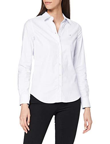 GANT Stretch Oxford-Solid Shirt Blusa, Blanco (White 110), 46 (Talla del Fabricante: 44) para Mujer