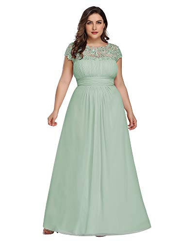 Ever-Pretty Womens Floral Lacey Plus Size Long Maxi Wedding Guest Bridesmaid Dresses Mint US 16