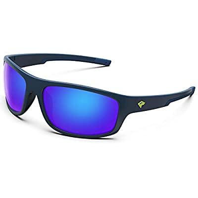 TOREGE Polarized Sports Sunglasses for Men Women Running Fishing Golf Driving Cycling Baseball TR90 Frame Glasses for Polarized UV Protection TR19 Hyperion (Matte Blue&Blue&Blue Revo Lens)