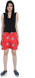 Flamboyant Printed Women's Red Cotton Shorts