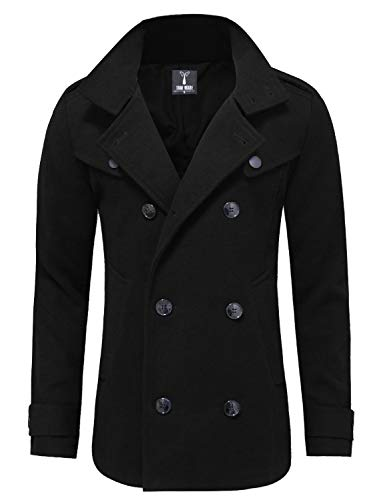 TAM WARE Mens Classic Wool Double Breasted Pea Coat TWCC06-BLACK-US M