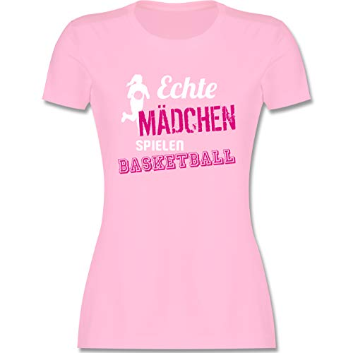 Basketball - Echte Mädchen Spielen Basketball - M - Rosa - Shirt Basketball mädchen - L191 - Tailliertes Tshirt für Damen und Frauen T-Shirt