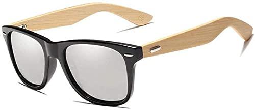 Gafas de sol de bambú para hombres y mujeres, gafas de sol polarizadas vintage de viaje gafas de espejo