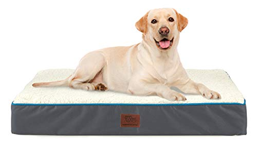 SunStyle Home Orthopedic Foam Dog Bed for Large & X-Large Dogs Up to 100lbs with Waterproof Removable Cover, Mattress Pet Mat Bed for Dogs & Cats - Orthopedic Egg Crate Foam Platform, Grey