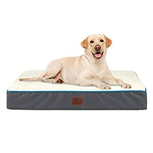 SunStyle Home Orthopedic Foam Dog Bed for Large & X-Large Dogs Up to 100lbs with Waterproof Removable Cover, Mattress Pet Mat Bed for Dogs & Cats – Orthopedic Egg Crate Foam Platform, Grey